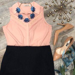Chloe K blush pink lace sleeveless collared blouse